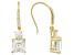 White Cubic Zirconia Asscher Cut 18k Yellow Gold Over Sterling Silver Dangle Earrings 9.40ctw