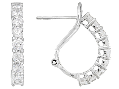 Bella Luce ® 1.62ctw Rhodium Over Sterling Silver Huggie Earrings