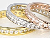 18k Gold Over Silver And Rhodium Over Silver Cubic Zirconia Bands 1.25ctw