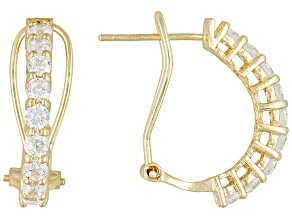 White Cubic Zirconia 18k Yellow Gold Over Silver Huggie Earrings  1.62ctw