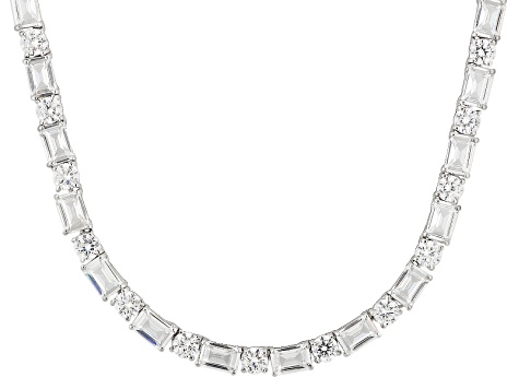 Cubic Zirconia Rhodium Over Sterling Silver Necklace 59.00ctw