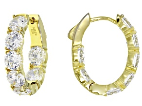 white cubic zirconia 18k yellow gold over sterling silver earrings 12.56ctw