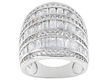 Picture of Cubic Zirconia Rhodium Over Sterling Silver Ring 6.50ctw