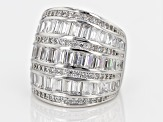 Cubic Zirconia Rhodium Over Sterling Silver Ring 6.50ctw