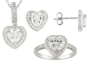 Cubic Zirconia Sterling Silver Heart Jewelry Set 5.00ctw