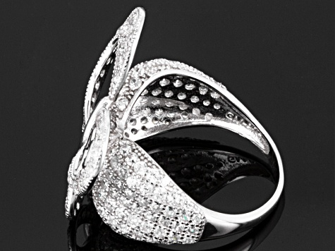 Cubic Zirconia Sterling Silver Butterfly Ring 2.19ctw