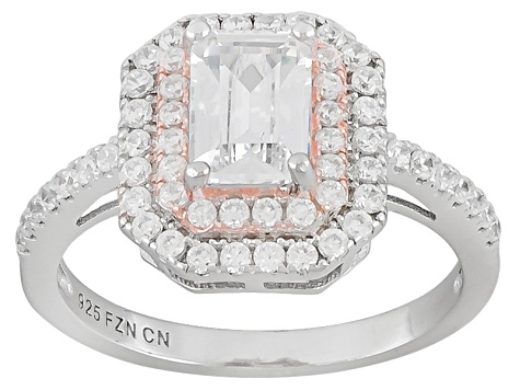 Cubic Zirconia Rhodium Over Silver and 14K Rose Gold Over Silver Two-Tone Ring 2.35ctw