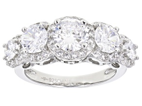 Cubic Zirconia Rhodium Over Sterling Silver Ring 2.35ctw