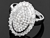 Cubic Zirconia Sterling Silver Ring 1.25ctw