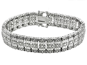 White Cubic Zirconia Sterling Silver Bracelet 22.39ctw