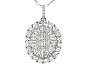 White Cubic Zirconia Sterling Silver Pendant With Chain 6.26ctw