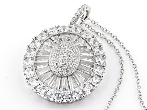 White Cubic Zirconia Rhodium Over Sterling Silver Pendant With Chain 6.26ctw