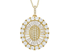 White Cubic Zirconia 18k Yg Over Sterling Silver Pendant With Chain 5.83ctw