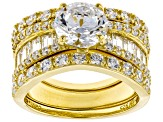 White Cubic Zirconia 18K Yellow Gold Over Sterling Silver Ring 6.45ctw