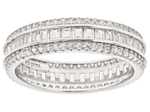 White Cubic Zirconia Sterling Silver Band Ring 3 25ctw
