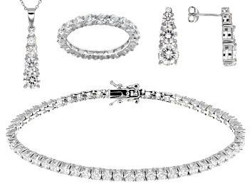 Picture of White Cubic Zirconia Rhodium Over Sterling Silver Jewelry Set 27.70ctw