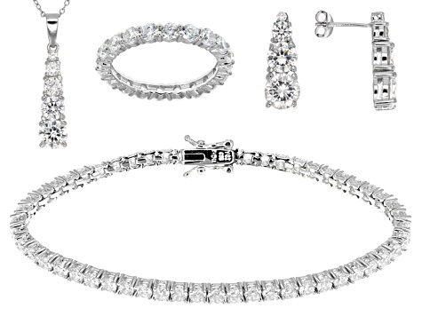 White Cubic Zirconia Sterling Silver Jewelry Set 27.70ctw