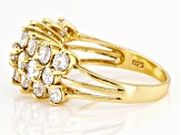 White Cubic Zirconia 18K Yellow Gold Over Sterling Silver Ring 3.78ctw