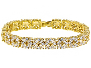 Cubic Zirconia 18k Yellow Gold Over Silver Bracelet 27.50ctw
