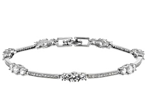 Cubic Zircona Rhodium Over Sterling Silver Bracelet 6.40ctw