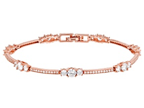 Cubic Zirconia 14k Rose Gold Over Silver Bracelet 6.40ctw