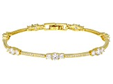 White Cubic Zirconia 14k Yellow Gold Over Sterling Silver Bracelet 6.40ctw