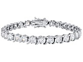 Cubic Zirconia Rhodium Over Sterling Silver Bracelet 14.75ctw