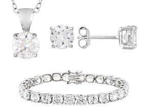 Cubic Zirconia Silver Bracelet, Earrings And Pendant With Chain Set 44.80ctw