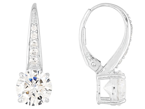 Cubic Zirconia Silver Earrings 4.85ctw
