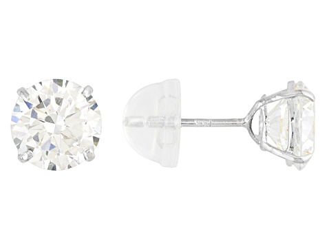 Cubic Zirconia 14k White Gold Stud Earrings 2.86ctw