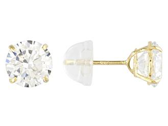 Cubic Zirconia 14k Yellow Gold Stud Earrings 2.86ctw