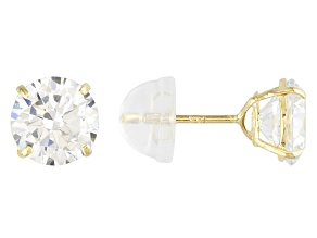 Cubic Zirconia 14k Yellow Gold Stud Earrings 2.86ctw