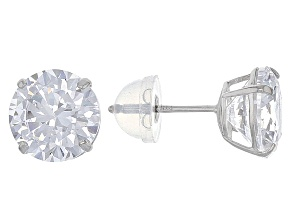 Cubic Zirconia 14k White Gold Stud Earrings 6.50ctw