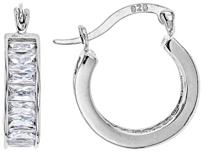 Cubic Zirconia Rhodium Over Sterling Silver Hoop Earrings 4.80ctw