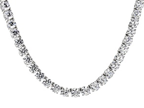 Cubic Zirconia Rhodium Over Sterling Silver Necklace 100.00ctw