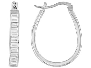 Cubic Zirconia Silver Hoop Earrings 4.80ctw