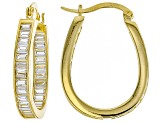 Cubic Zirconia 18K Yellow Gold Over Sterling Silver Hoop Earrings 4.80ctw