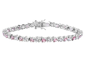 Pink and white cubic zirconia rhodium over sterling silver bracelet 8.46ctw