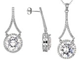 Cubic Zirconia Sterling Silver Pendant And Earrings Set 27.04ctw