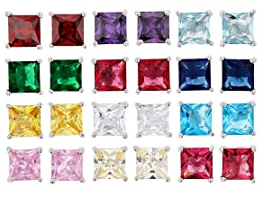 Multi Color Cubic Zirconia And Simulants Rhodium Over Silver Stud Earring Set Of 12, 19.40ctw