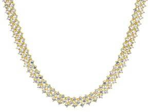 Cubic Zirconia 18k Yellow Gold Over Silver Necklace 28.70ctw