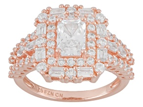 Cubic Zirconia 18K Rose Gold Over Sterling Silver Ring 3.66ctw