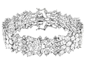Cubic Zirconia Rhodium Over Sterling Silver Bracelet 73.92ctw
