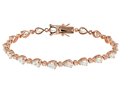 White Cubic Zirconia 14k Rose Gold Over Silver Bracelet 12.80ctw