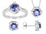 Blue And White Cubic Zirconia Sterling Silver Ring, Earrings, And Pendant Set