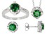 Green And White Cubic Zirconia Sterling Silver Ring, Earrings, And Pendant Set