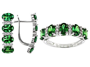 Green And White Cubic Zirconia Sterling Silver Earrings And Ring Set 7.75ctw