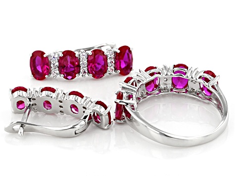 Red And White Cubic Zirconia Rhodium Over Silver Earrings And Ring Set 7.75ctw