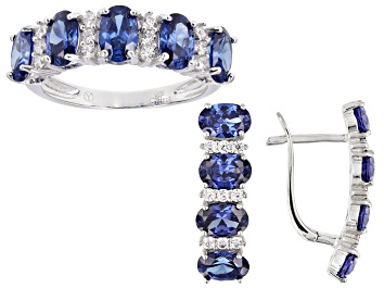 Picture of Blue And White Cubic Zirconia Rhodium Over Sterling Silver Earrings And Ring Set 7.75ctw