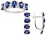 Blue And White Cubic Zirconia Sterling Silver Earrings And Ring Set 7.75ctw